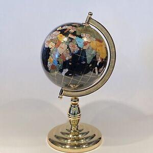 "11.5"" tall Tabletop Gemstone Globe Earth - Black ocean - Globe 6"" wide Gold tone"