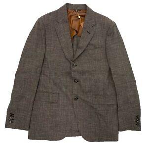 $3,000 Loro Piana Brown Wool Silk Linen Blazer Size US 44, EU 54, Made in Italy