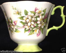 ROYAL ALBERT BLOSSOM TIME SERIES ORANGE BLOSSOM FOOTED CUP 8 OZ GREEN TRIM
