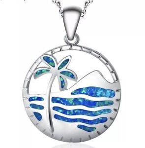 ROLILASON Beach Palm Tree Blue Fire Opal 925 Stamped Pendant Necklace [PEN-107]