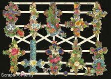 German Embossed Scrap Die Cut - Easter Christmas Cross' & Flowers EF7300