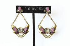 Silpada Orchid Ambience Earrings Swarovski Crystal Brass Statement Party gift