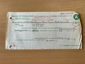25 NOV 1952 BANK OF ENGLAND (STOCK TRANSFERS OFFICES) VINTAGE RECEIPT