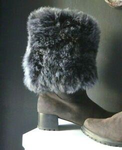 STUART WEITZMAN GRAY SHEARLING BOOTS with GENUINE SHEEPSKIN FUR ADJUSTABLE CUFF