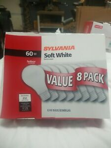 Value Pack 8 SYLVANIA 60W Soft White Incandescent Light Bulbs