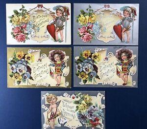 5 SET Angel Birthday Antique Postcards, 1900s. EMB Gold / Silver Trim w Value