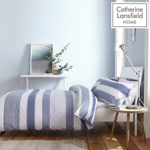 Catherine Lansfield Newquay Stripe Blue Duvet Covers Quilt Cover Bedding Sets