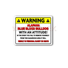 Alapaha Blue Blood Bulldog Warning Decal Pet Dog Toys 9x12 Aluminum Sign mka