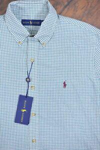 NWT Polo Ralph Lauren LS Button Front Shirt Green Check Men's Medium M