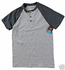 Hanes Men ComfortBlend Short Sleeve Henley Shirt Steel/Slate Heather Large New