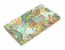 Indian Handmade Beige Twin Paisley Cotton Kantha Quilt Throw Blanket Bedspread