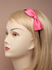 Pink leather alice band bow