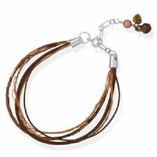 4 Strand Glass Bead Leather Copper Charms MultiStrand .925 Sterling Bracelet NWT
