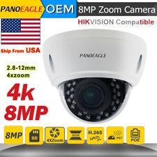 Hikvision Compatible 4K 8MP POE IP Camera Outdoor 4X Zoom 2.8~12mm IP Camera