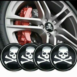 4x Skull Wheel Rim Center Hub Caps Decal Cover Emblem Car Sticker Accessories
