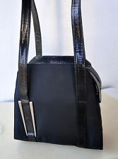 Gianni Versace Blk Canvas & Lizard Trim Shoulder Bag Italy As New Rare Sold Out!