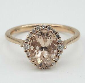 NEW 10K Pink Morganite Gemstone Diamond Rose Gold Ring Size 6 Womens Ladys