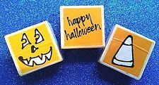 Lot of 3 Halloween Rubber Stamps ~ Happy Halloween! Candy Corn & Jack O Lantern