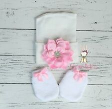 Newborn Baby Infant Girl Comfy WHITE Floral Hospital Beanie mittens Hat set new