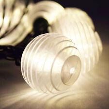 10 Socket Solar String Light G40 Warm White LED Bulbs 12.5FT Green E12 Base