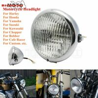 Motorcycle Chrome Bates Style Headlight Headlamp For Harley Cafe Racer Choppers