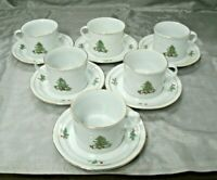 Tienshan HOLIDAY HOSTESS Christmas Tree 6 Tea Coffee Cup & Saucer Sets Disc'd EC