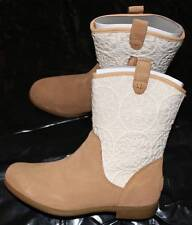 NEW Ugg Big Girl's Tan Dahlia Lace Suede Cowboy Boots 6 NIB
