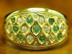 18kt 750 Yellow Gold Ring Glass, 0,36ct Emerald & 0,40ct Zirconia Trim / Rg 60