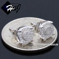 MEN WOMEN 925 STERLING SILVER 7MM LAB DIAMOND ROUND PUSH BACK STUD EARRING*E162