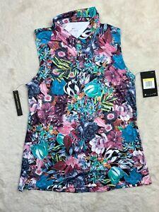 Women's Nike Dri-Fit  SMALL Graphic Floral Sleeveless Golf Shirt AJ5327-623