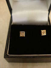 PAIR OF 9 CARAT YELLOW GOLD FANCY DIAMOND STUD EARRINGS MADE IN UK BRAND NEW