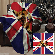 BRITISH BULLDOG UNION JACK DESIGN SOFT FLEECE BLANKET COVER THROW BED SOFA