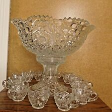 """Vintage Large Glass Punch Bowl Set (Bowl, Stand, 12 Cups), 17"""" D X 14"""" TALL"""