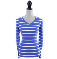Tommy Hilfiger Women Long Sleeve V-Neck Stripe Knit Top Tee - Free $0 Ship