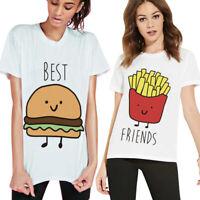 Best Friends BFF Tops Short Sleeve Crew Neck Casual T Shirt Women Summer Tee