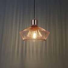 Endon Kimberley Pendant Caged Ceiling Light Copper Finish 60W E27 GLS Industrial