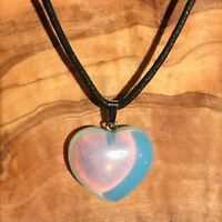 """Opalite Crystal Heart Pendant 25mm with 20"""" Black Cord Necklace Love Calming"""