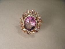 Magnificent Estate 14K Pink Rose Gold Diamond Amethyst Quartz Ring