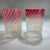 Three Antique Victorian Optic Swirl Cranberry Glass Assorted Drinking Glasses