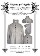 Steampunk Sewing Pattern Victorian Men's Shirt with detachable collar, All Sizes