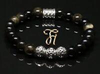 Obsidian schwarz Armband Bracelet Perlenarmband Silber Beads 8mm