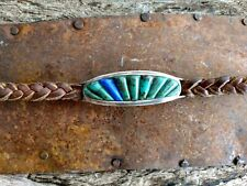 Turquoise/Lapis Inlaid Sterling silver Leather Bracelet. Ervin Martin
