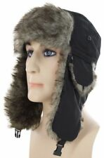 Men Snowboard Fur Russian Soft Faux EarFlap Ski Winter Snow Trapper Cap Black