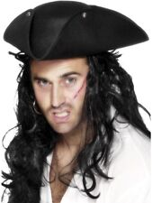 PIRATE TRICORN HAT MENS LADIES PIRATES FANCY DRESS COSTUME ACCESSORY BLACK HAT