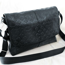 NWT COACH Embossed OP Signature Black Leather Crossbody Messenger Bag NEW $398
