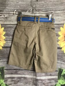 Volcom Big Boys Frickin Chino Short - tan Size 25 (10) NWT with belt