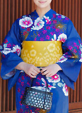 Japanese Women's Traditional YUKATA KIMONO Obi Sandal Set JAPAN 16 Blue B-a