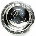 Pawprint Embossed Dog Bowls Stainless Steel Pet Dishes Extra Wide Rim Pick Size