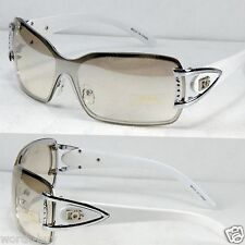 New DG White Tinted Shield Womens Rimless Sunglasses Shades Fashion Designer