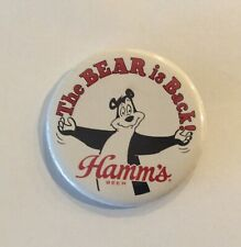 """New listing Hamm's Beer Brewing """"The Bear is Back� Button Souvenir Pin"""
